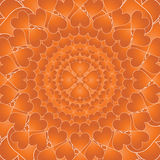 Circles of hearts. Orange pattern of hearts displayed in circles Stock Image