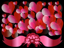 Circles and hearts 3. Abstract background - a Valentine's Day card: heart, bow, tapes Stock Photos