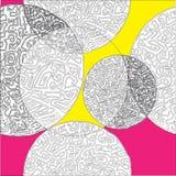 Circles and labyrinth vector seamless pattern Stock Photos