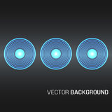 Circles with light effects form a golden glowing round frame on dark brown background.  Royalty Free Stock Photography