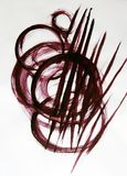 Circles and lines drawn by brush. royalty free stock photos