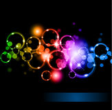 Circles of llight with Raibow Colours Stock Photography