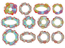 Circles made of buildings. Set of circles made of buildings Stock Photo