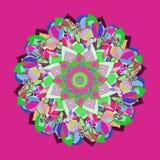 CIRCLES MANDALA FLOWER. PLAIN FUCHSIA BACKGROUND. COLORFUL IMAGE IN PINK, FUCHSIA, RED, GREEN, BLUE, BURGUNDY, PURPLE stock illustration