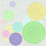 Circles in the naive style. Pastel background with hand draw circles Royalty Free Stock Photography
