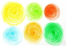 Circles oil pastel  painted background. Circles pastel chalk painted background Stock Photo
