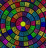 Circles and ornament. Abstract colored image of circles consisting of lines and figures Stock Image