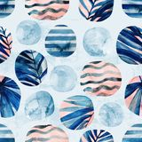 Circles with palm leaves, waves, stripes and water color marble, grained, grunge, paper textures. Abstract geometric background. Watercolor tropical seamless stock illustration