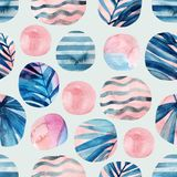 Circles with palm leaves, waves, stripes and water color marble, grained, grunge, paper textures. Abstract geometric background. Watercolor tropical seamless vector illustration