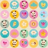 Circles pattern baby panda bears flowers clouds Royalty Free Stock Photo