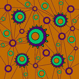 Circles pattern mint green purple with purple lines on orange Royalty Free Stock Photo