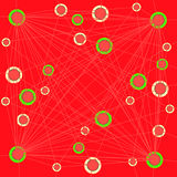 Circles pattern pastel yellow and bright green on red connected with pastel red lines. Abstract geometric background. Intricate concentric circles pattern pastel Royalty Free Stock Photography