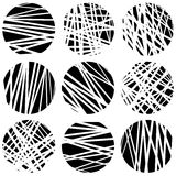 Circles with random chaotic, irregular straight lines. Dynamic l Royalty Free Stock Image