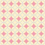 Circles and rings seamless vector pattern in pink, blue and yellow vector illustration
