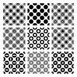 Circles in 9 seamless monochrome vector patterns Royalty Free Stock Photos