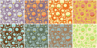 Circles Seamless Pattern. In 8 colour schemes Royalty Free Stock Photography