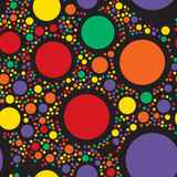 Circles seamless pattern. Color dots abstract background. Vector illustration. Rounds decoration backdrop Stock Photos