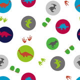 Circles seamless pattern with cute dinosaurs. Vector background with silhouettes of dinosaurs. Kids design Stock Images