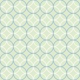 Circles seamless vector pattern in light green, blue and white. This geometric seamless vector pattern features a series of overlapped circles in blue and white vector illustration
