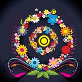 Circles shape with flowers  illustration Royalty Free Stock Photography
