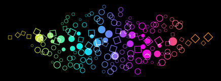 Circles and square background. Colored circles and square on black background Stock Photo