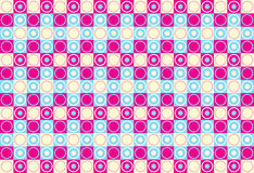 Circles and squares. In different colors background pink and light blue Stock Photos