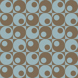 Circles In Squares_Blue-Brown. A repeat pattern of circles and squares in blue and brown stock illustration