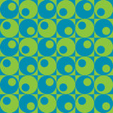 Circles In Squares_Blue-Green. A repeat pattern of circles and squares in blue and green vector illustration