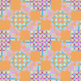 Circles and squares pattern orange pink violet purple blue Stock Photo