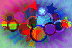 Circles, stars, beams grunge background. Stock Photography