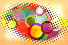 Circles and stars on a paper. Circles and stars on a paper halftone background Stock Photo
