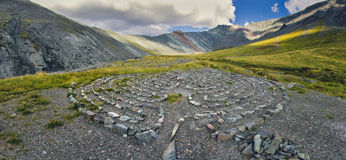 Circles of stones in the mountains Royalty Free Stock Photography