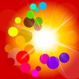 Circles Sun Indicates Light Burst And Summer. Circles Glow Meaning Light Burst And Illuminated Stock Photography