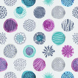 Circles texture seamless pattern. Seamless pattern with hand drawn circles texture. Abstract artistic background. Vector Illustration stock illustration
