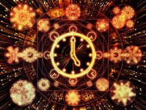Advance of Chronology. Circles of Time series. Arrangement of clock symbols and fractal elements on the subject of science, education and prediction vector illustration