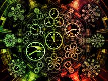 Synergies of Chronology. Circles of Time series. Background design of clock symbols and fractal elements on the subject of science, education and prediction royalty free illustration