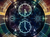 Virtual Chronology. Circles of Time series. Interplay of clock symbols and fractal elements on the subject of science, education and prediction stock illustration