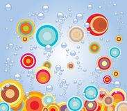 Circles under water. Illustration of background with circles and bubbles Royalty Free Stock Images