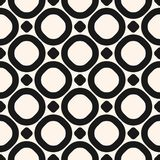 Circles vector seamless pattern. Geometric texture with big rings and dots. Circles vector seamless pattern. Abstract black and white geometric texture with big Royalty Free Stock Photography
