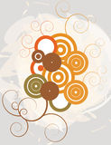Circles and vines illustration. Circles with vines on gray and white background Stock Photo