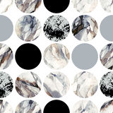 Circles with water color marbling, grained, grunge, paper textures. Abstract geometric background. Water color marble painting. Watercolor circle seamless stock illustration
