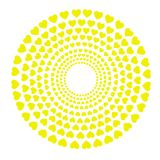 Circles with yellow hearts. Vector in white background Royalty Free Stock Photography