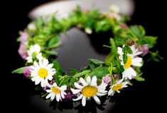 Circlet of flowers. On water Stock Image