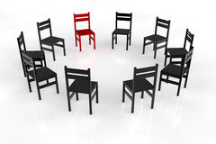 Circletime με τις καρέκλες σε έναν κύκλο διανυσματική απεικόνιση