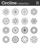 Circline collection pack 01. Set of 16 round filigree frames Stock Photos