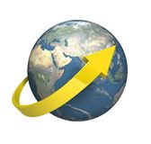 Circling around the world. High quality render of planet earth with a yellow arrow circumnavigating around it Stock Image