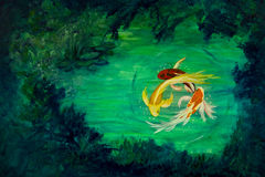 Circling Butterfly Koi. Three brightly colored butterfly koi circle eachother in a water lily pond Royalty Free Stock Images