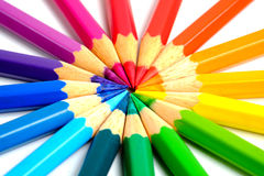 Circling coloring pencils Stock Photo