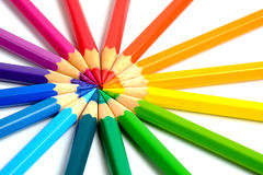 Circling coloring pencils. Complete set of coloring pencils with white background Royalty Free Stock Photos