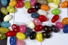 Circling Easter Date with Jellybeans Stock Photography